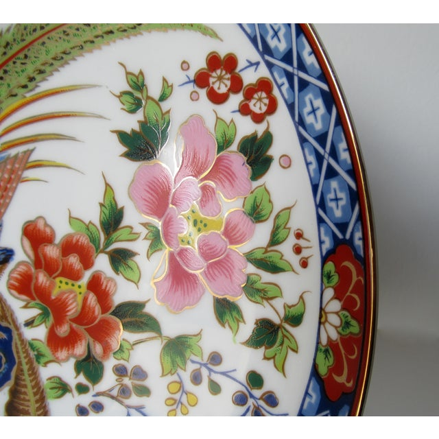 Vintage Hand-Painted Porcelain Japanese Imari Decorative Wall Plate For Sale - Image 9 of 13