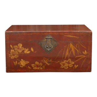 Mid 20th Century Red and Gilt Chinoserie Trunk For Sale