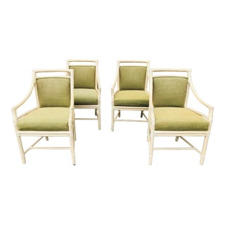 Set of Four McGuire Upholstered Target Back Dining Armchairs For Sale