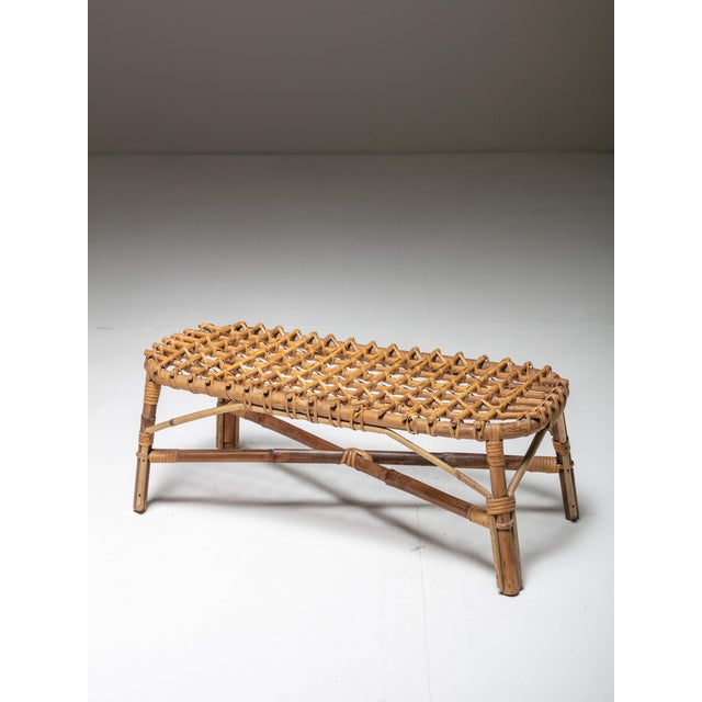 1970s Italian 60s Wicker Low Stool For Sale - Image 5 of 5
