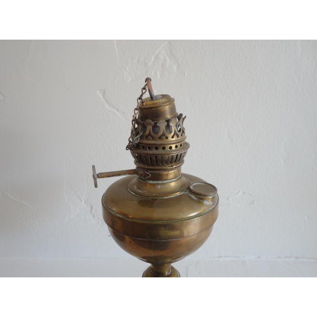 Mid 19th Century Fine Early 19thc Brass Oil Lamp With Original Glass Globe For Sale - Image 5 of 7