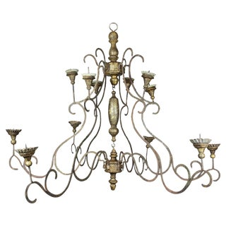 Scandinavian Wrought Iron and Giltwood Chandelier For Sale