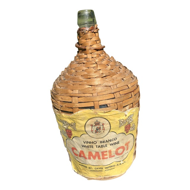 Vintage Wine Bottle in Handled Wicker Basket With Label For Sale