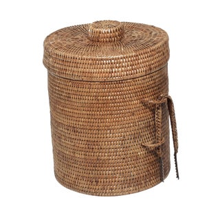 Boho Chic Artifacts Rattan Ice Bucket With Tongs For Sale