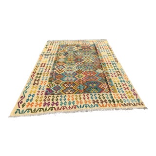 """Hand-Knotted Chobi Kilim Rug 78"""" X 121"""", From Pakistan For Sale"""