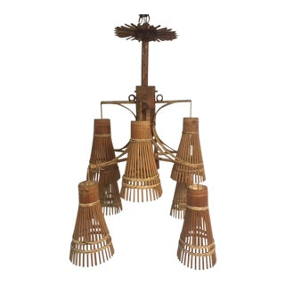 1960s Hand Crafted Bamboo Eight Light Chandelier For Sale