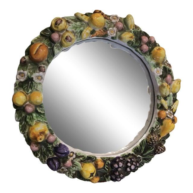 Vintage Italian Ceramic Della Robbia Wreath Mirror For Sale