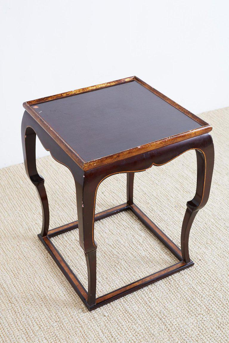 Distinctive English Mahogany Lacquered Tavern Table Or Drink Table  Featuring A Square Cube Form. The