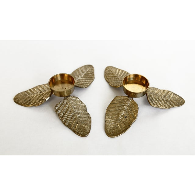 Brass Leaf Votive Candle Holders - A Pair - Image 2 of 4