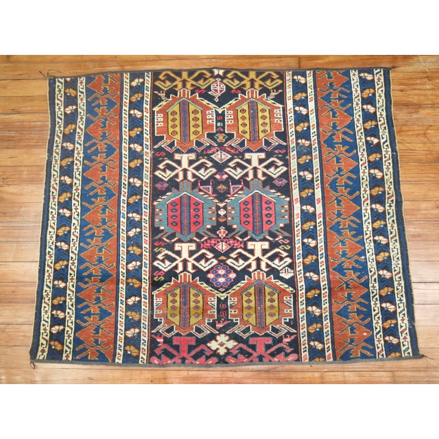 19th Century Antique Caucasian Rug Fragment- 2'11'' x 3'5'' For Sale In New York - Image 6 of 6