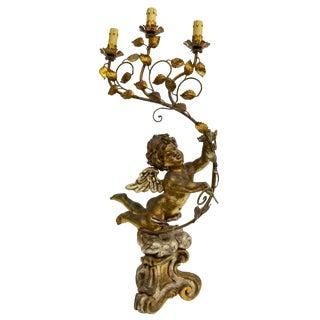 Italian Antique Candelabra Winged Putti Cherub Table Lamp For Sale