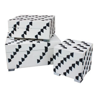 Contemporary John Richard Black and White Boxes - 3 Pieces For Sale