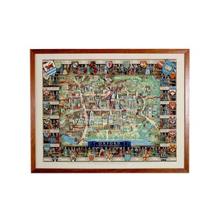 1940's Medieval College Pictorial Map of Oxford University For Sale