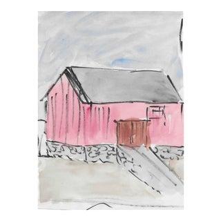 Barn Watercolor 1960s For Sale
