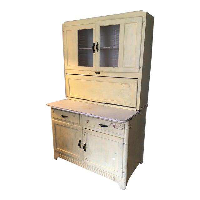 Vintage Farmhouse 2-Piece Painted Hoosier Cabinet For Sale