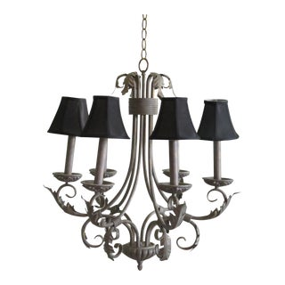 Large Hollywood Regency Acanthus Leaf Bronze Finish Patina 6 Light Candeliere Hanging Light Fixture With Shades For Sale