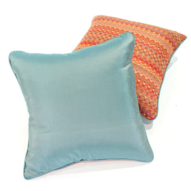 Poppy & Aqua Silk Pillows - A Pair - Image 3 of 8