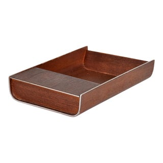 Mid Century Modern Peter Pepper Products Desk Accessory Walnut Aluminum SM Tray