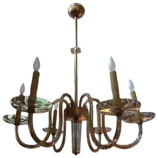 Murano Gold Glass Six-Light Chandelier by Seguso, Circa. 1940