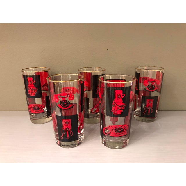 You Know You Love Mid Century Modern Design If: Vintage Mid Century Highball Glasses Black And Red Set- 5