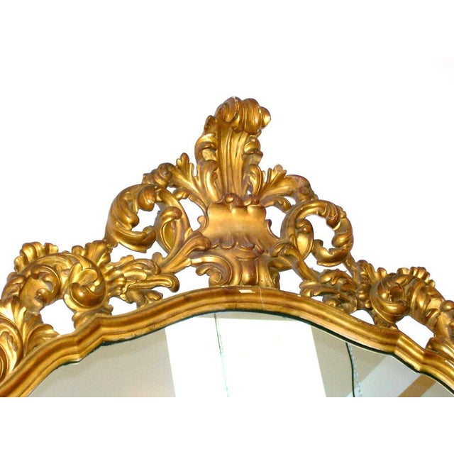 Hollywood Regency Gold Gilt Carved Wood Palatial Mirror For Sale - Image 3 of 6