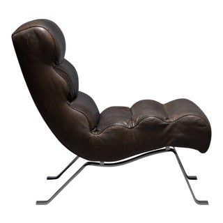 Leather and Steel Lounge Chair in the Style of Arne Norell