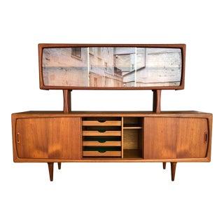 1960s Danish Modern h.p. Hansen Teak Sideboard Credenza With Glass Hutch Cabinet For Sale