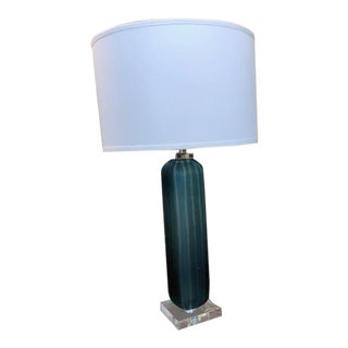 Frosted Blue Glass Lamp