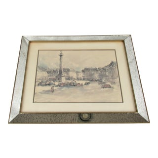 Vintage Mid-Century Spotted Mirror Frames With Italian Prints - a Pair For Sale