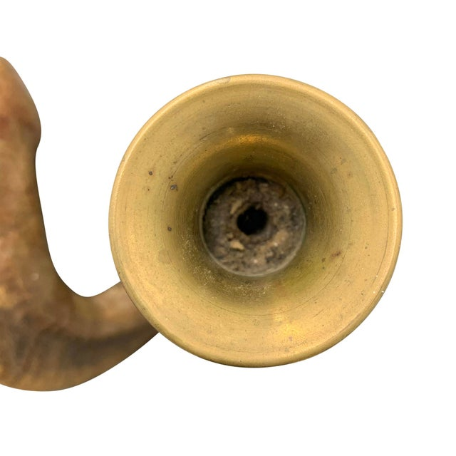 Brown Mid 20th Century Ram's Horn Candlestick For Sale - Image 8 of 9