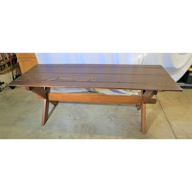 Country Handcrafted Cross Leg Trestle Douglas Fir Dining Table For Sale - Image 9 of 9