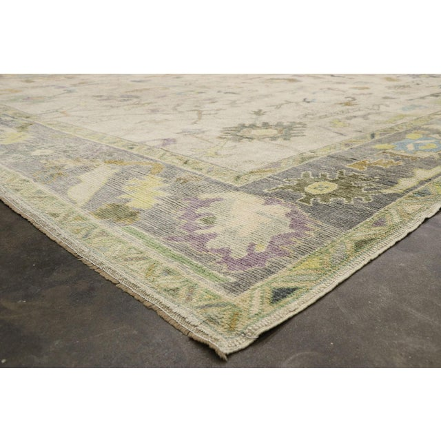 Contemporary Turkish Oushak Rug With Pastel Colors - 12'05 X 17'01 For Sale In Dallas - Image 6 of 9
