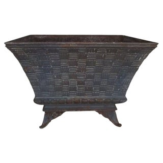 French Basket-Weave Planter For Sale