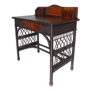 Antique Oak Arts & Crafts Haywood Wakefield Style Wicker Desk For Sale