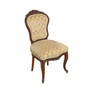 Victorian Antique Carved Mahogany French Style Side Chair For Sale