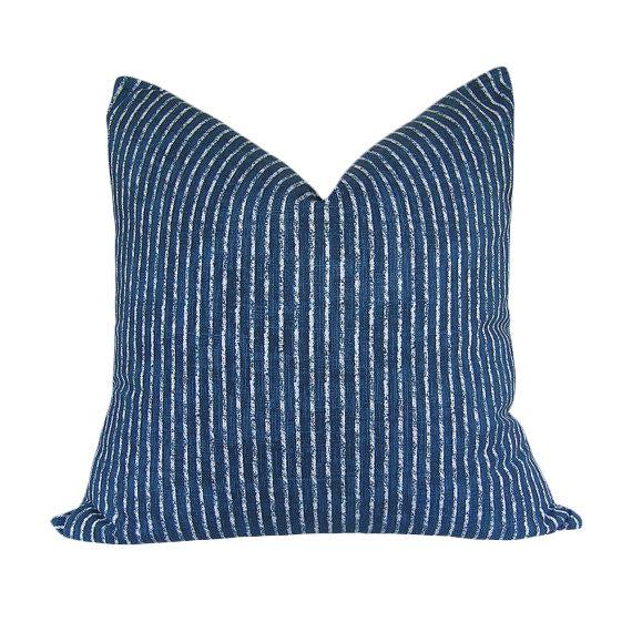 Skyfall Navy Stripe Custom Pillow Cover - Image 1 of 3