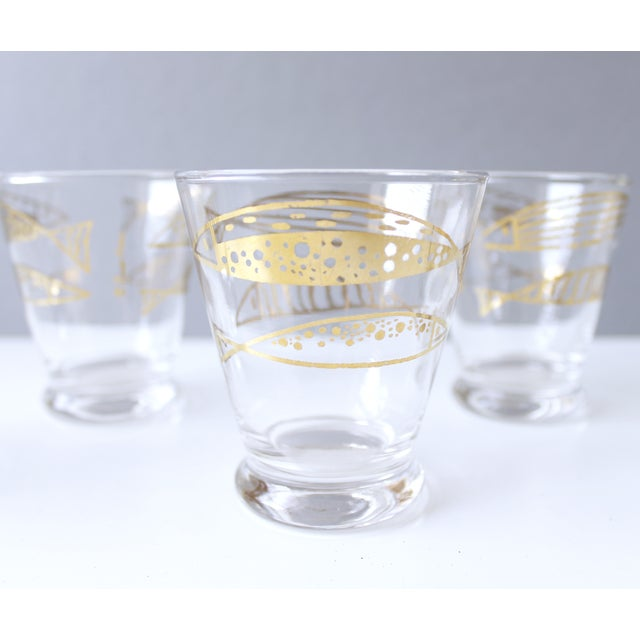 Mid-Century Fred Press Gold Fish Glasses - S/5 - Image 4 of 5