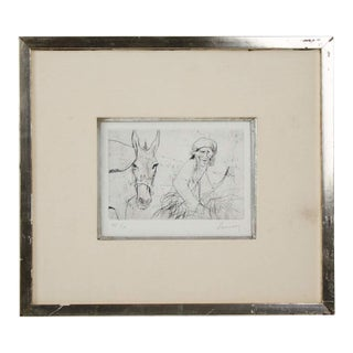 Early 20th Century Antique Jansen Man and Donkey Lithograph Print For Sale