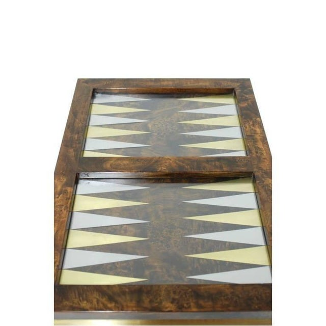 Brass Burl Wood and Brass Backgammon Game Table For Sale - Image 7 of 9
