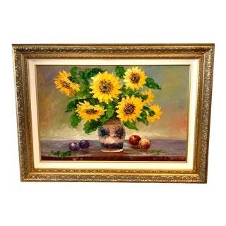 Sunflowers in Blue and White Pot Oil on Canvas For Sale