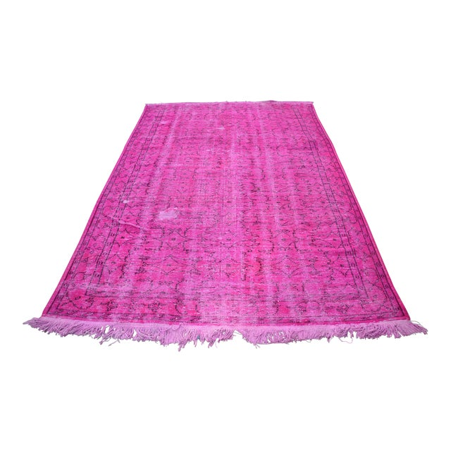Fuscia Overdyed Floor Rug - 5′11″ × 8′11″ For Sale