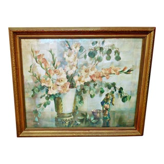 Large Vintage Chinoiserie Framed Floral Still Life Print by Cecil Golding For Sale