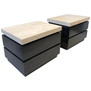 Pair of Cerused Oak and Travertine Nightstand by Kreiss For Sale