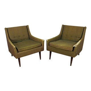 Pair of Mid-Century Danish Modern Milo Baughman Selig of Monroe Club Chairs For Sale