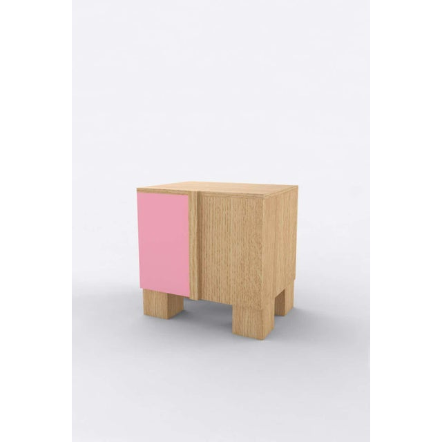 Postmodern Contemporary 100 Bedside in Oak and Pink by Orphan Work, 2020 For Sale - Image 3 of 3