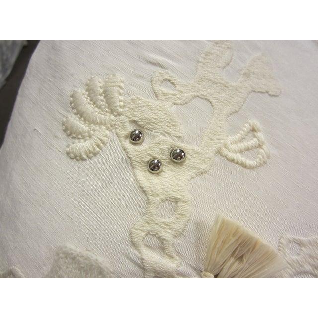 White & Tan Decorative Pillows - Set of 5 - Image 6 of 7
