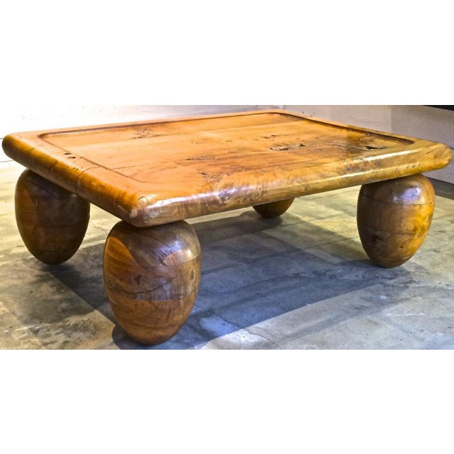 Brutalist Coffee Table With Awesome Olive Shaped Leg For Sale - Image 6 of 7