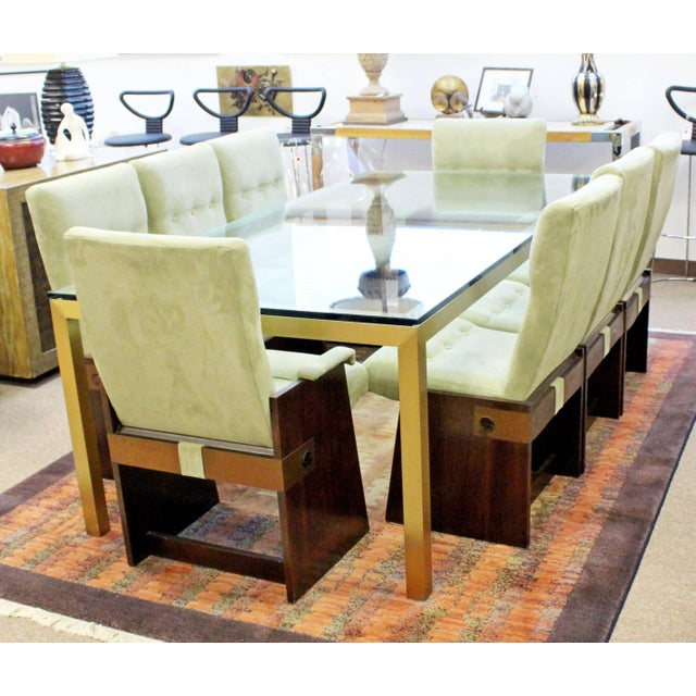 Bronze Vintage Mid-Century Modern Bronze Brass & Glass Rectangular Dining Table Brueton For Sale - Image 7 of 8