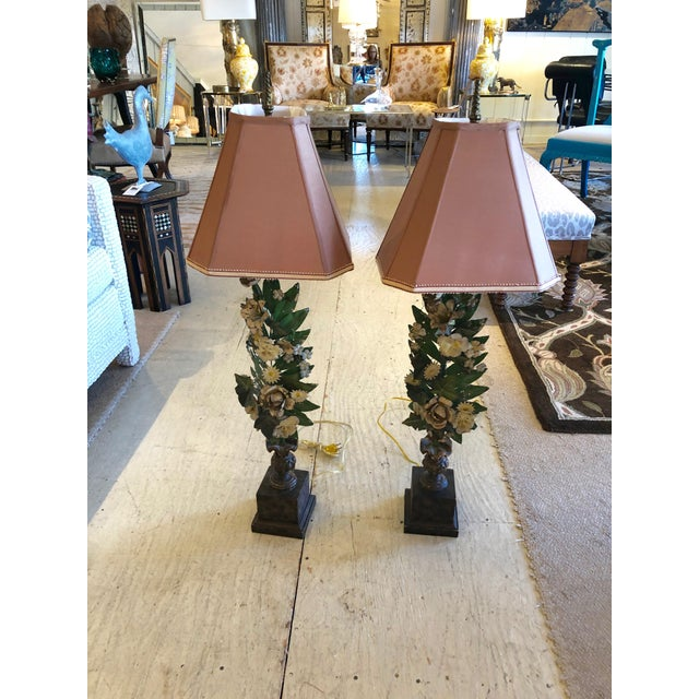 Gorgeous Pair of French Antique Tole Table Lamps With Flowers and Leaves For Sale - Image 10 of 12