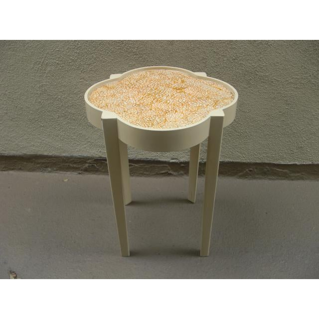 Lacquer Moroccan Silhouette Painted Mosaic Top Side Table For Sale - Image 7 of 7